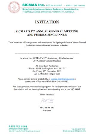 37th AGM Invitation